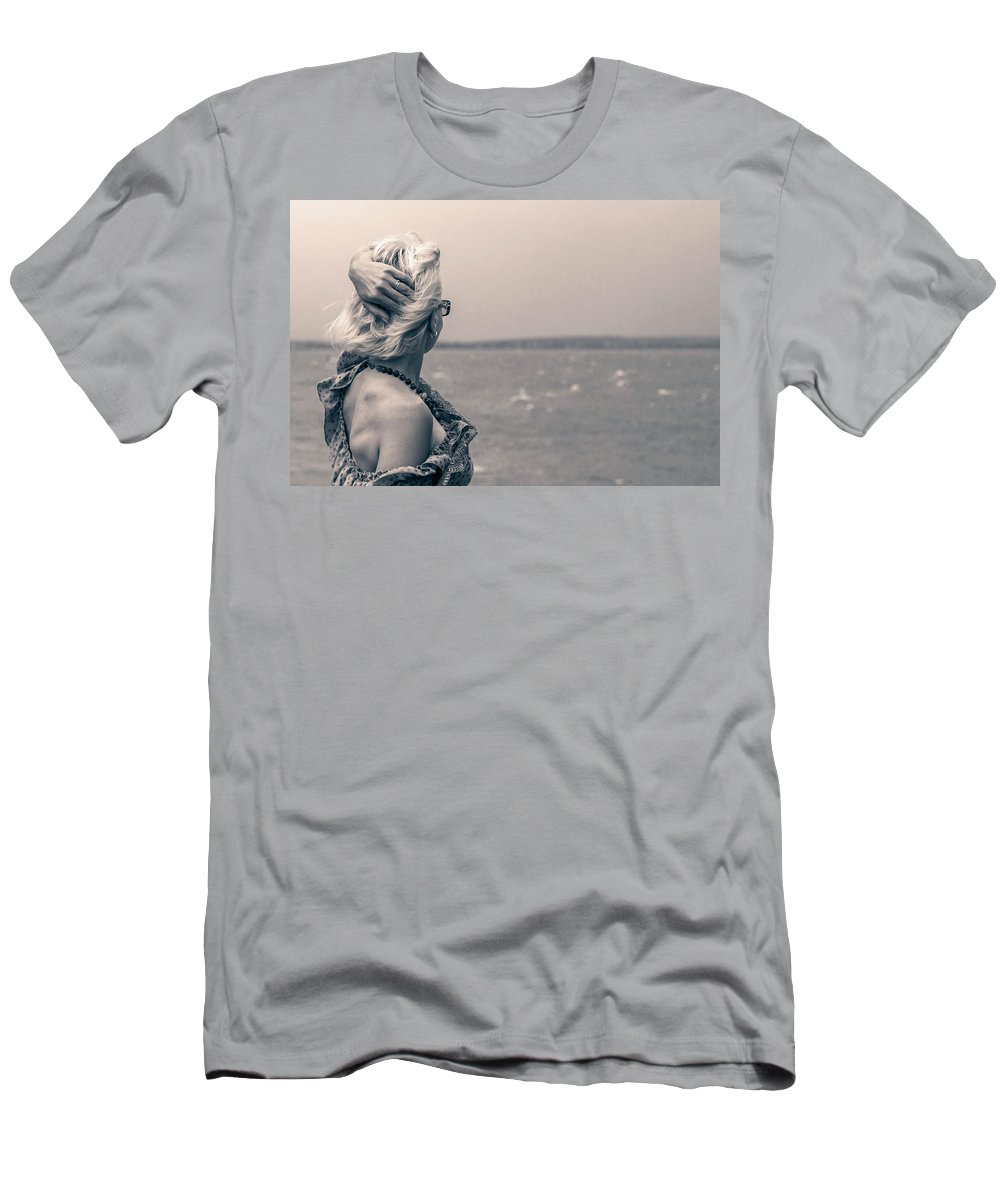 Beach Men's T-Shirt (Athletic Fit) featuring the photograph Blond Woman Looking To The Horizon. by Aliaksandr Alin