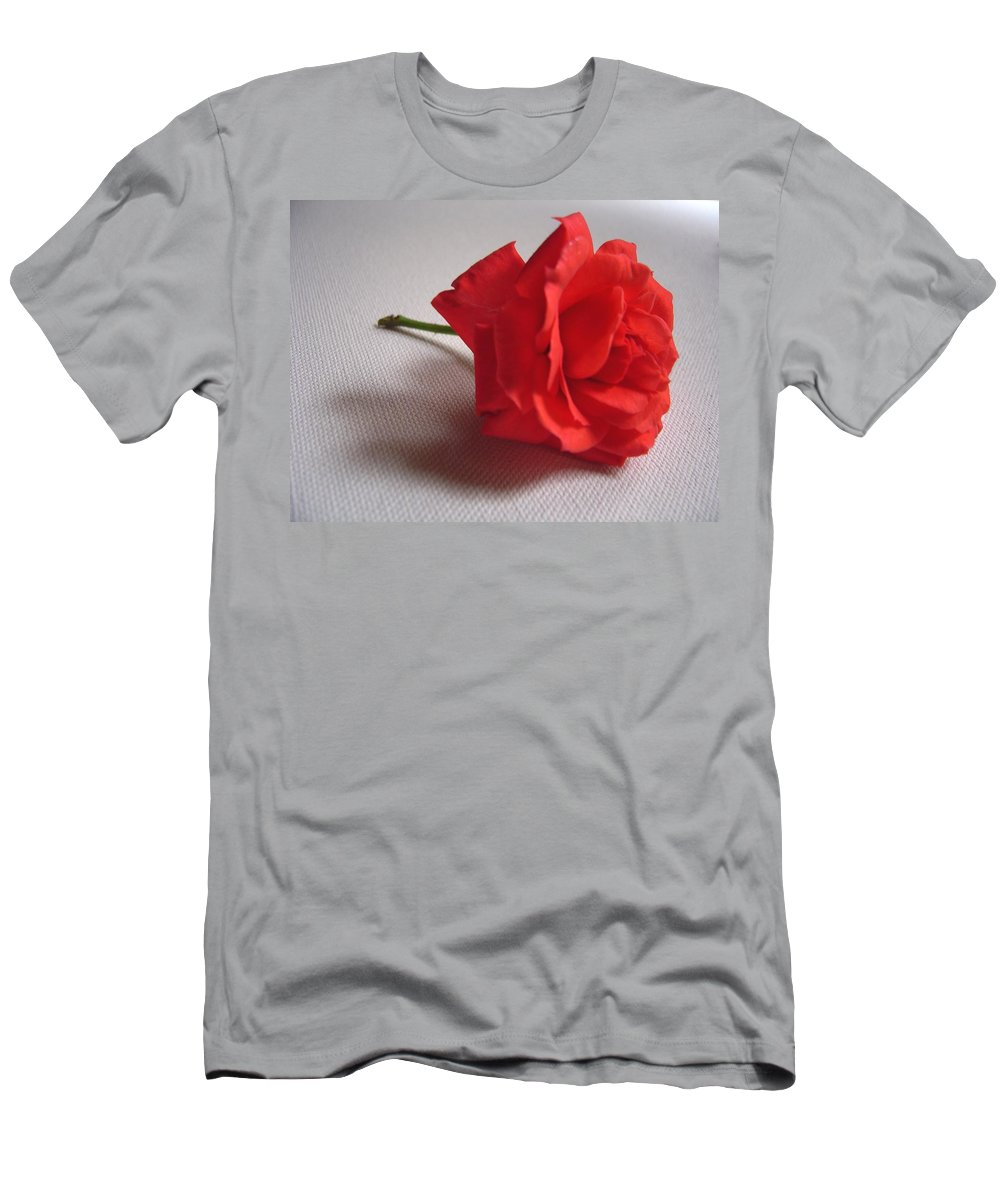 Blood Men's T-Shirt (Athletic Fit) featuring the photograph Blood Red Rose by Usha Shantharam