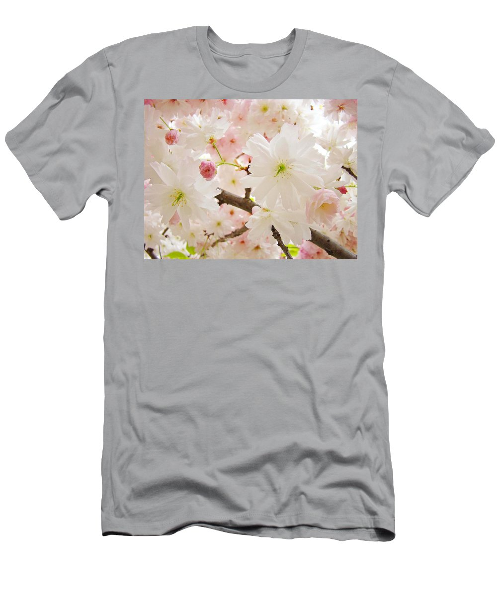 Nature Men's T-Shirt (Athletic Fit) featuring the photograph Blossoms Art Print 53 Sunlit Pink Tree Blossoms Macro Springtime Blue Sky by Baslee Troutman