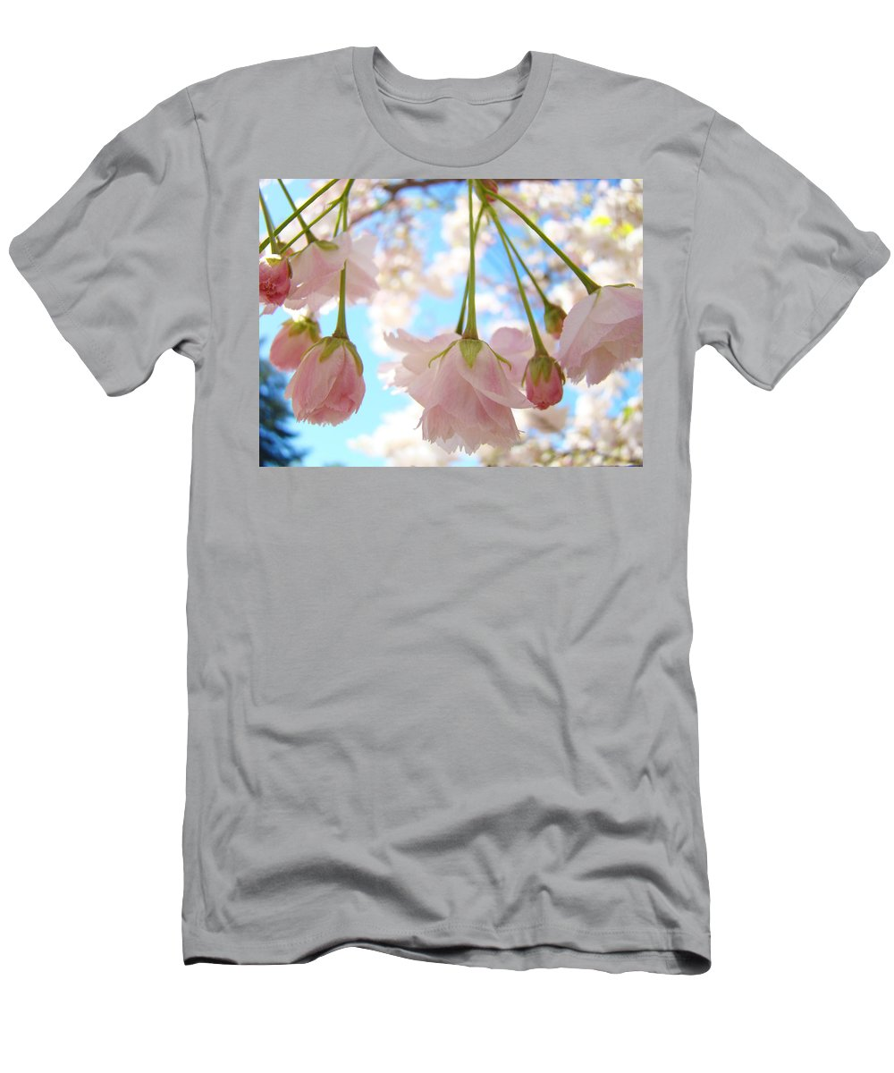 �blossoms Artwork� Men's T-Shirt (Athletic Fit) featuring the photograph Blossoms Art Prints 52 Pink Tree Blossoms Nature Art Blue Sky by Baslee Troutman