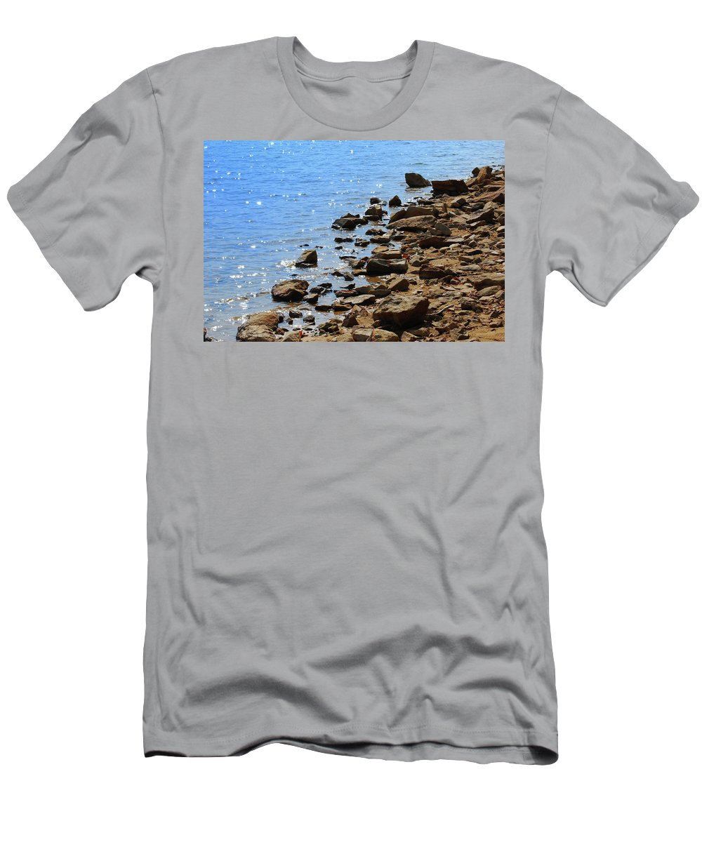 Water Men's T-Shirt (Athletic Fit) featuring the photograph Blue And Tan by Lori Tambakis