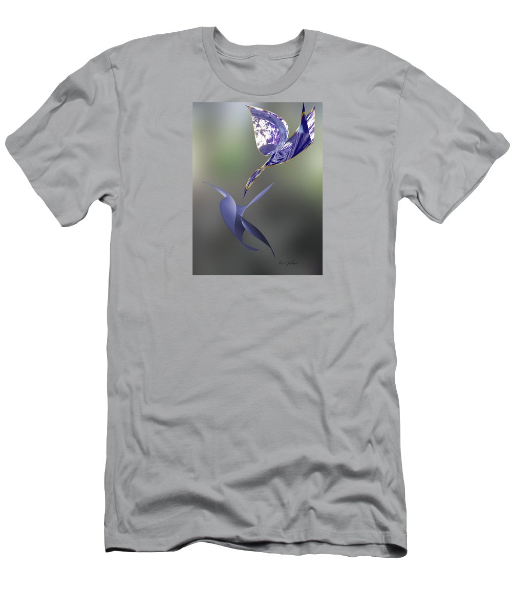 Abstract Men's T-Shirt (Athletic Fit) featuring the digital art Blue Birds Over by Iris Gelbart
