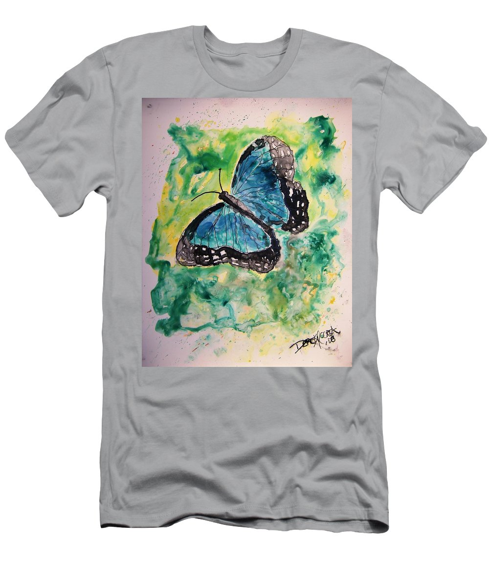 Wildlife Men's T-Shirt (Athletic Fit) featuring the painting Blue Butterfly by Derek Mccrea
