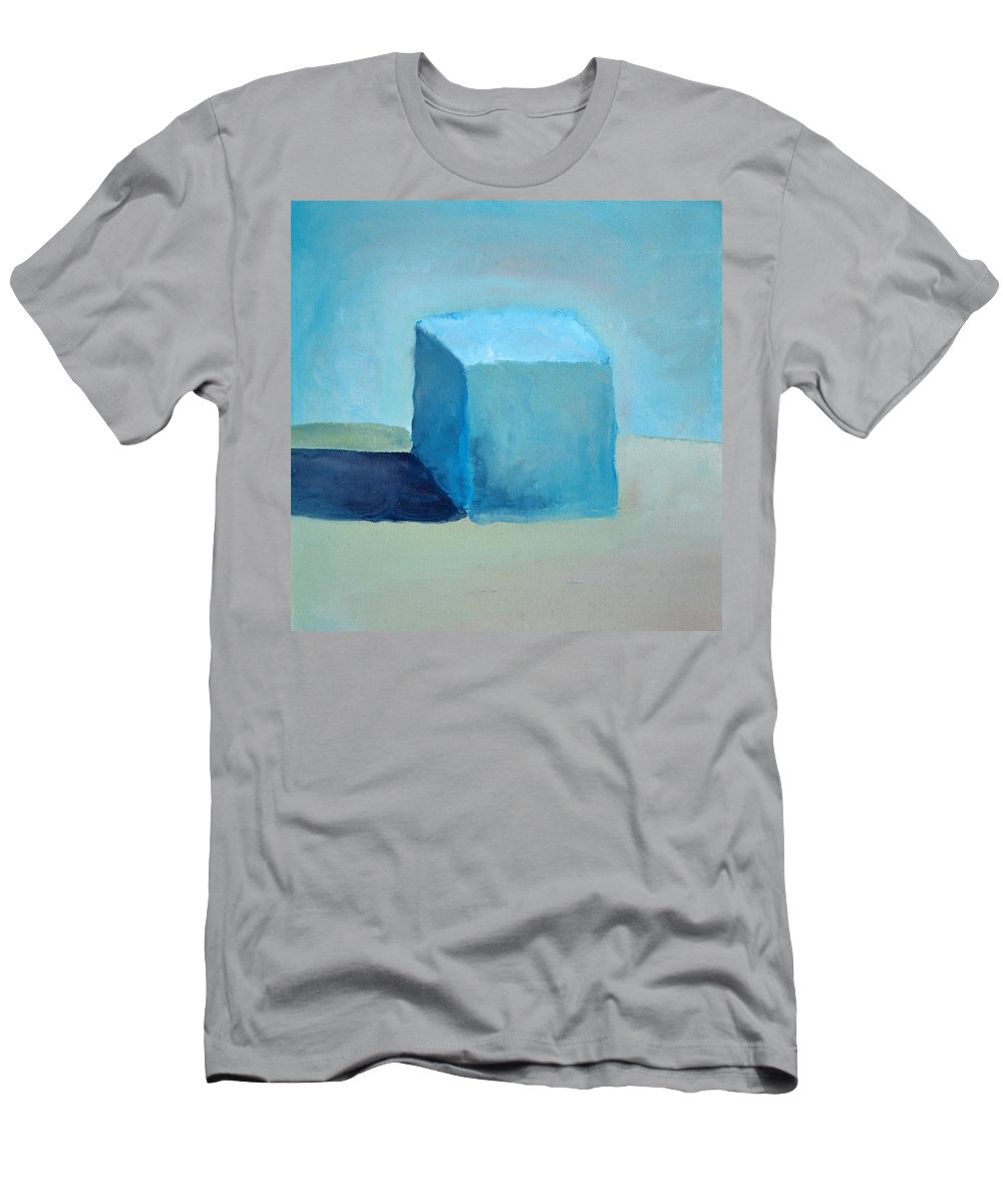 Blue Men's T-Shirt (Athletic Fit) featuring the painting Blue Cube Still Life by Michelle Calkins