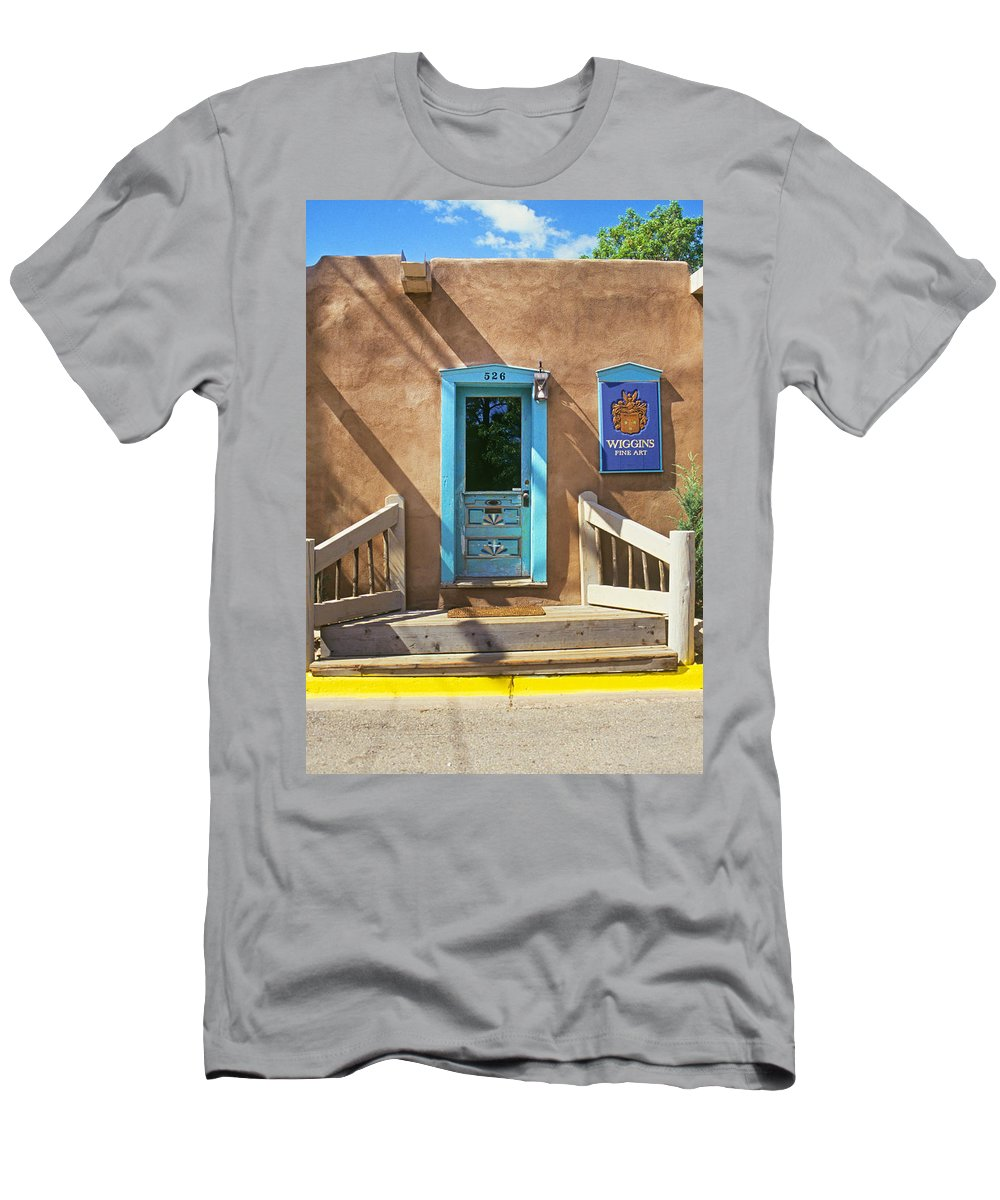Art Men's T-Shirt (Athletic Fit) featuring the photograph Blue Door On Canyon Road by Buddy Mays