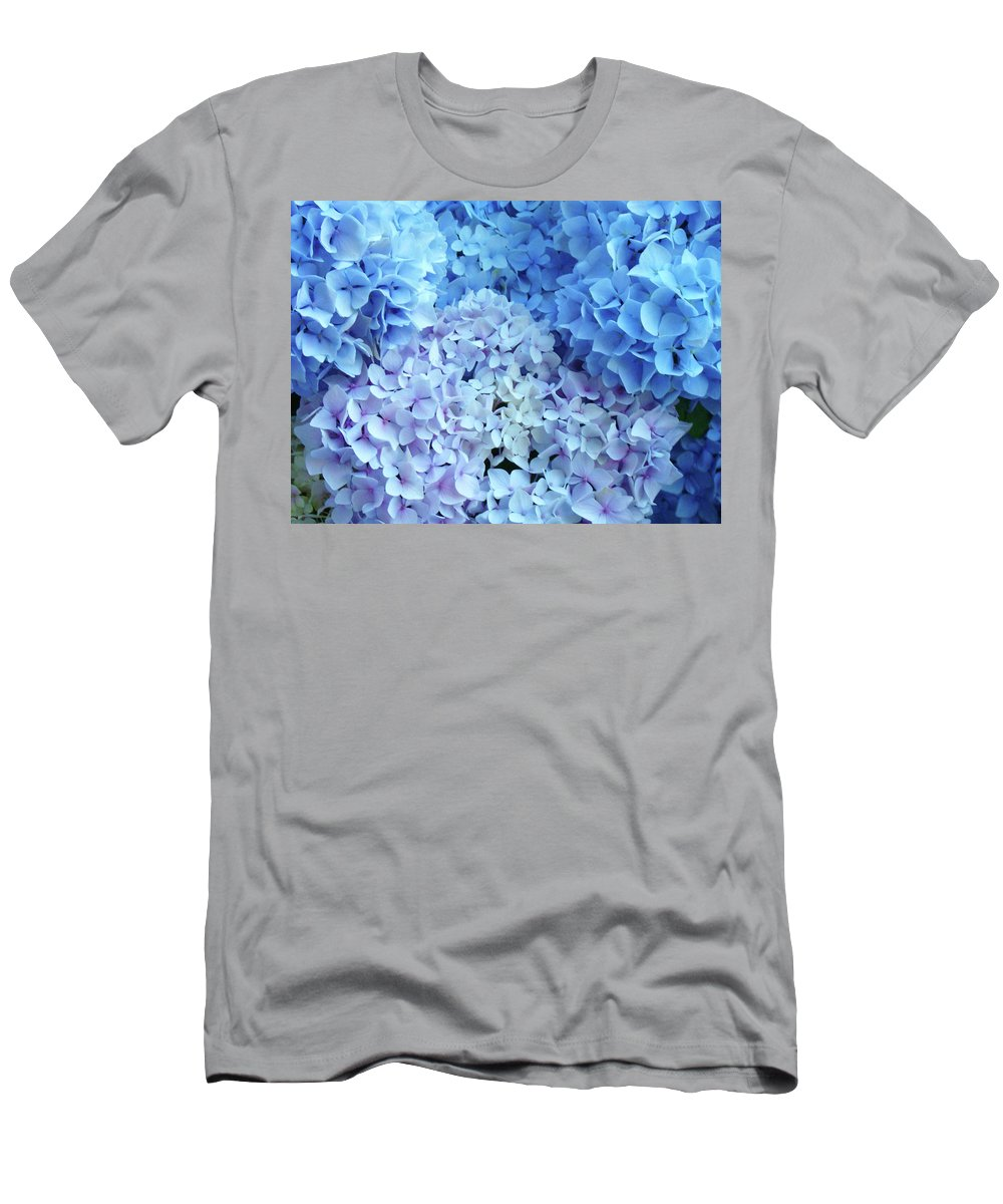 Nature Men's T-Shirt (Athletic Fit) featuring the photograph Blue Floral Hydrangreas Flowers Art Baslee Troutman by Baslee Troutman