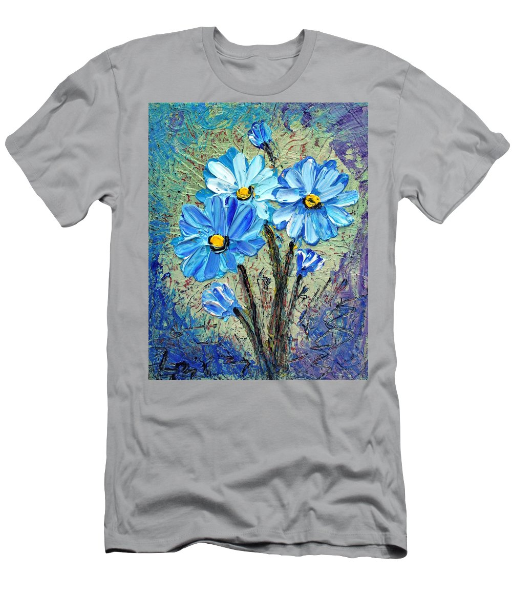 Flowers Men's T-Shirt (Athletic Fit) featuring the painting Blue Flowers by Luiza Vizoli