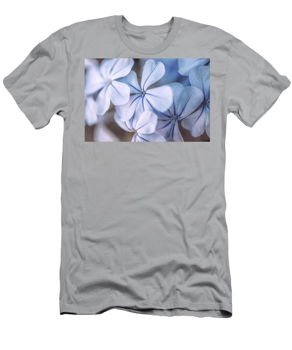 Flowers Men's T-Shirt (Athletic Fit) featuring the photograph Blue Houres, Blue Flowers by Hanna Tor
