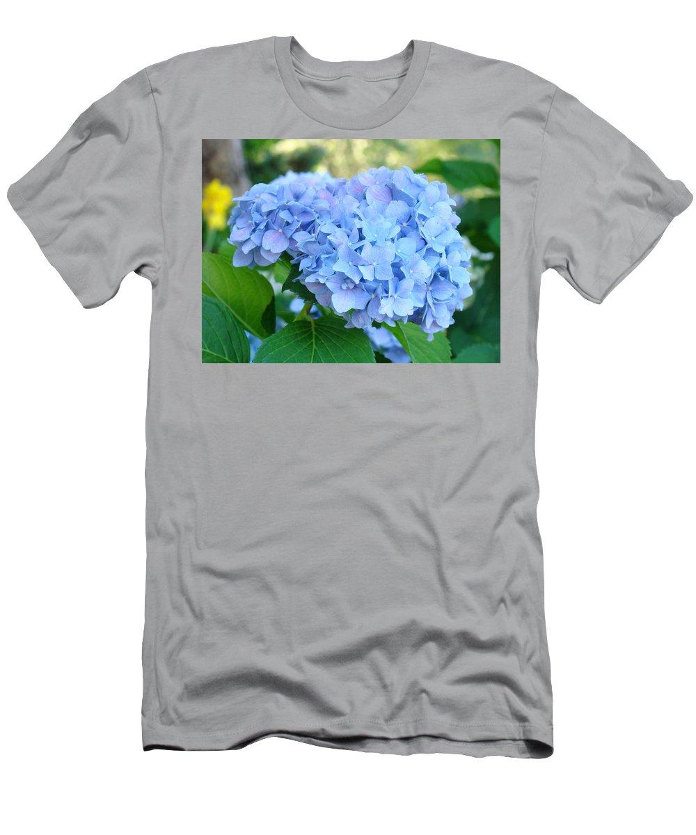 Hydrangea Men's T-Shirt (Athletic Fit) featuring the photograph Blue Hydrangea Flowers Art Botanical Nature Garden Prints by Baslee Troutman