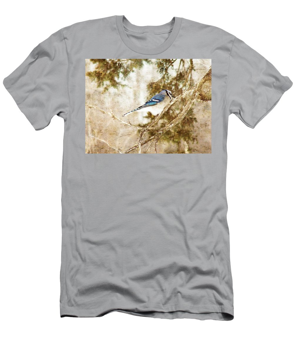 Blue Jay Men's T-Shirt (Athletic Fit) featuring the digital art Blue Jay by Cassie Peters