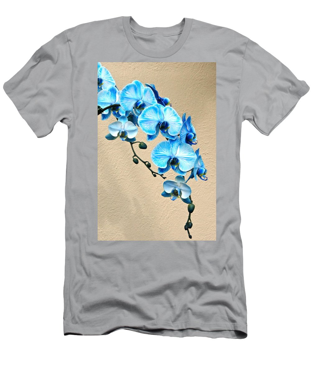 Orchid Men's T-Shirt (Athletic Fit) featuring the photograph Blue Mystique Orchid by Byron Varvarigos