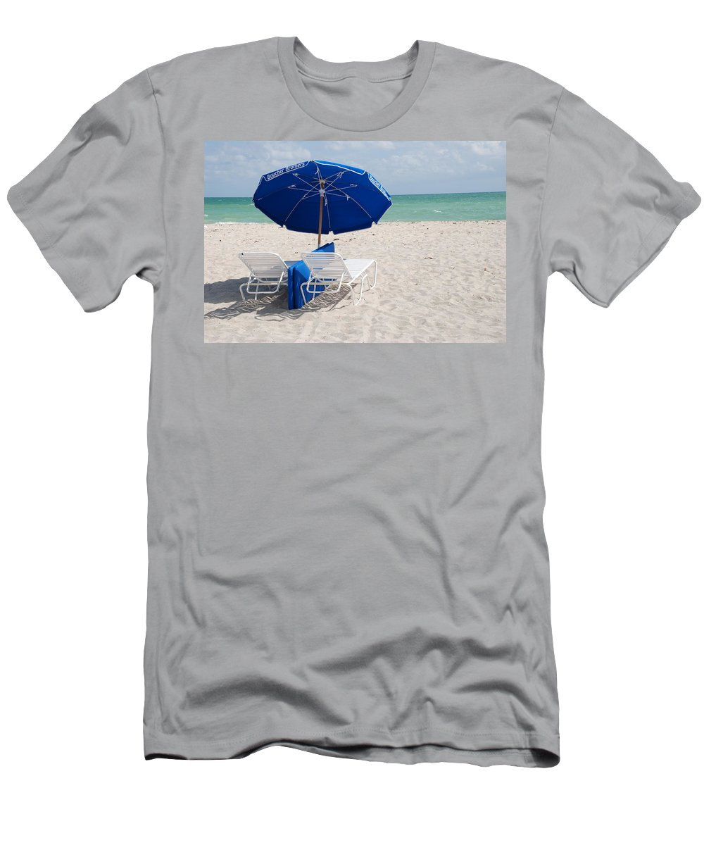 Sea Scape T-Shirt featuring the photograph Blue Paradise Umbrella by Rob Hans