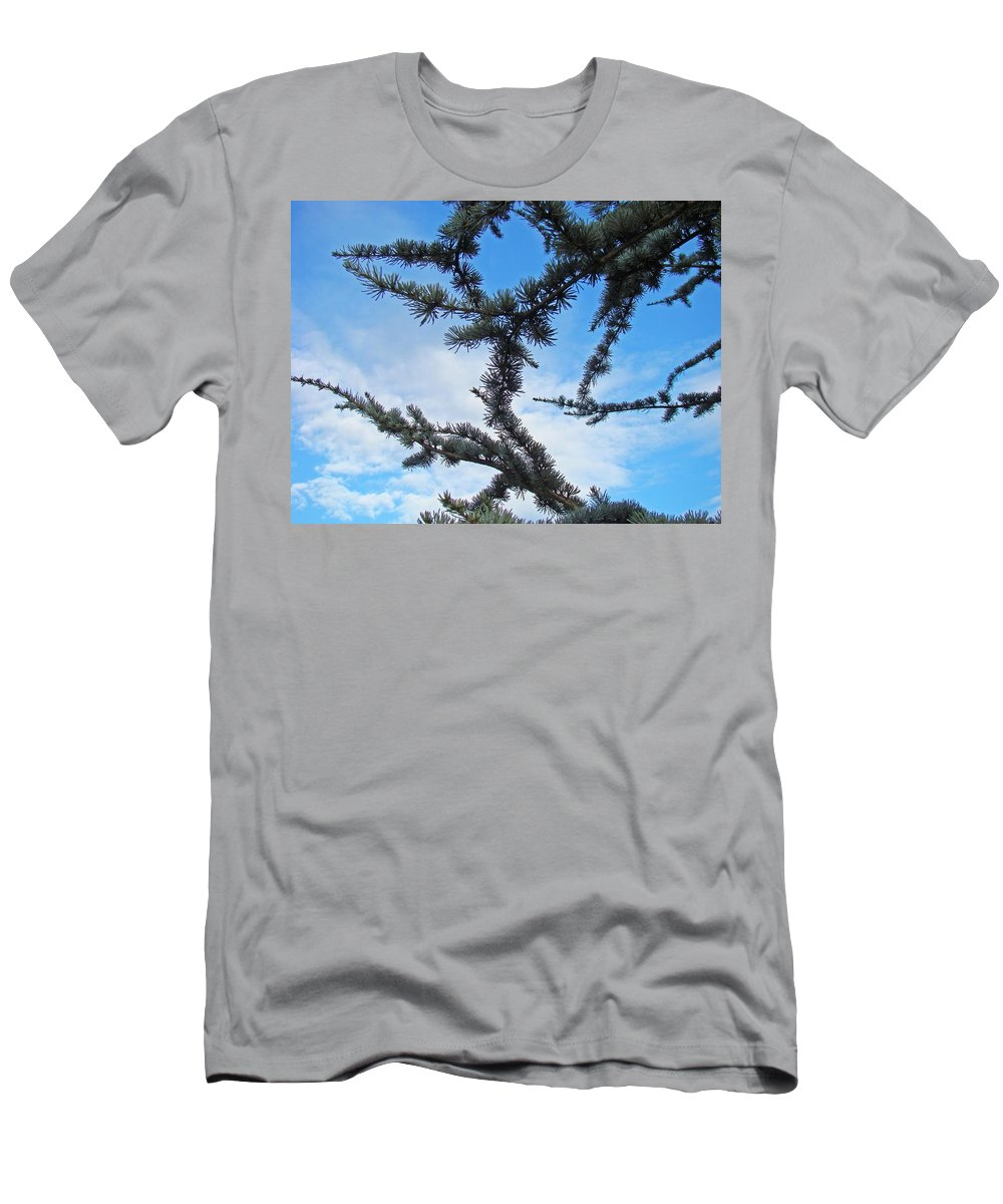 Pine Men's T-Shirt (Athletic Fit) featuring the photograph Blue Sky Art Prints White Clouds Conifer Pine Branches Baslee Troutman by Baslee Troutman