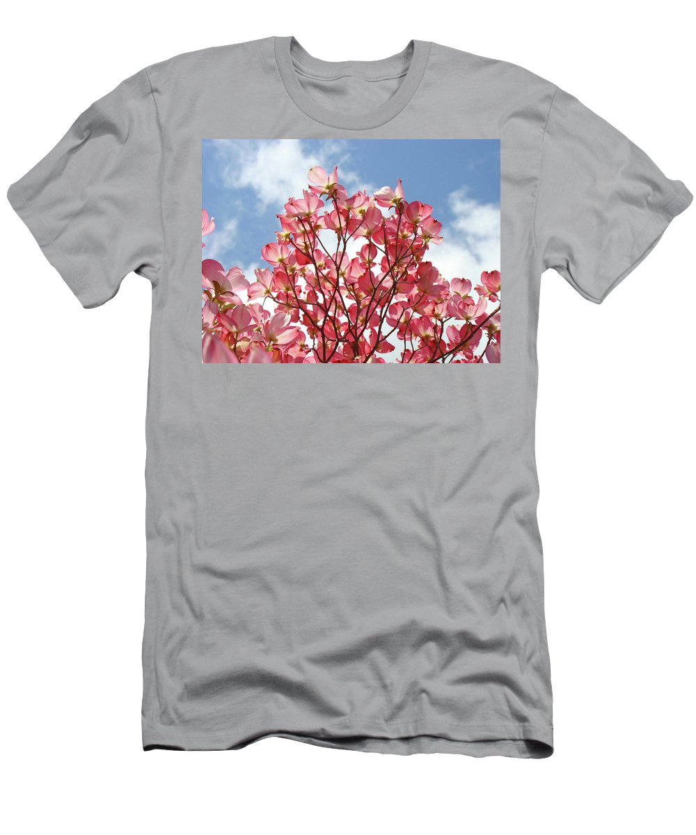 Dogwood Men's T-Shirt (Athletic Fit) featuring the photograph Blue Sky Clouds Landscape 7 Pink Dogwood Tree Baslee Troutman by Baslee Troutman