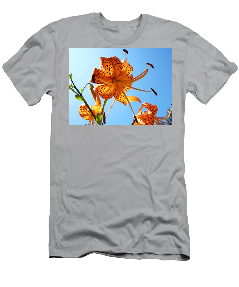 Lilies Men's T-Shirt (Athletic Fit) featuring the photograph Blue Sky Tiger Lily Floral Garden Art Prints Baslee Troutman by Baslee Troutman