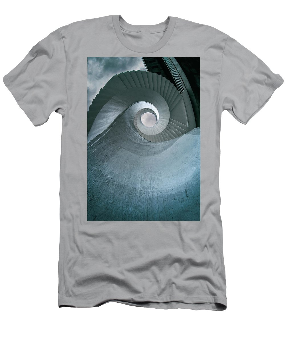 Architecture Men's T-Shirt (Athletic Fit) featuring the photograph Blue Spiral Stairs by Jaroslaw Blaminsky