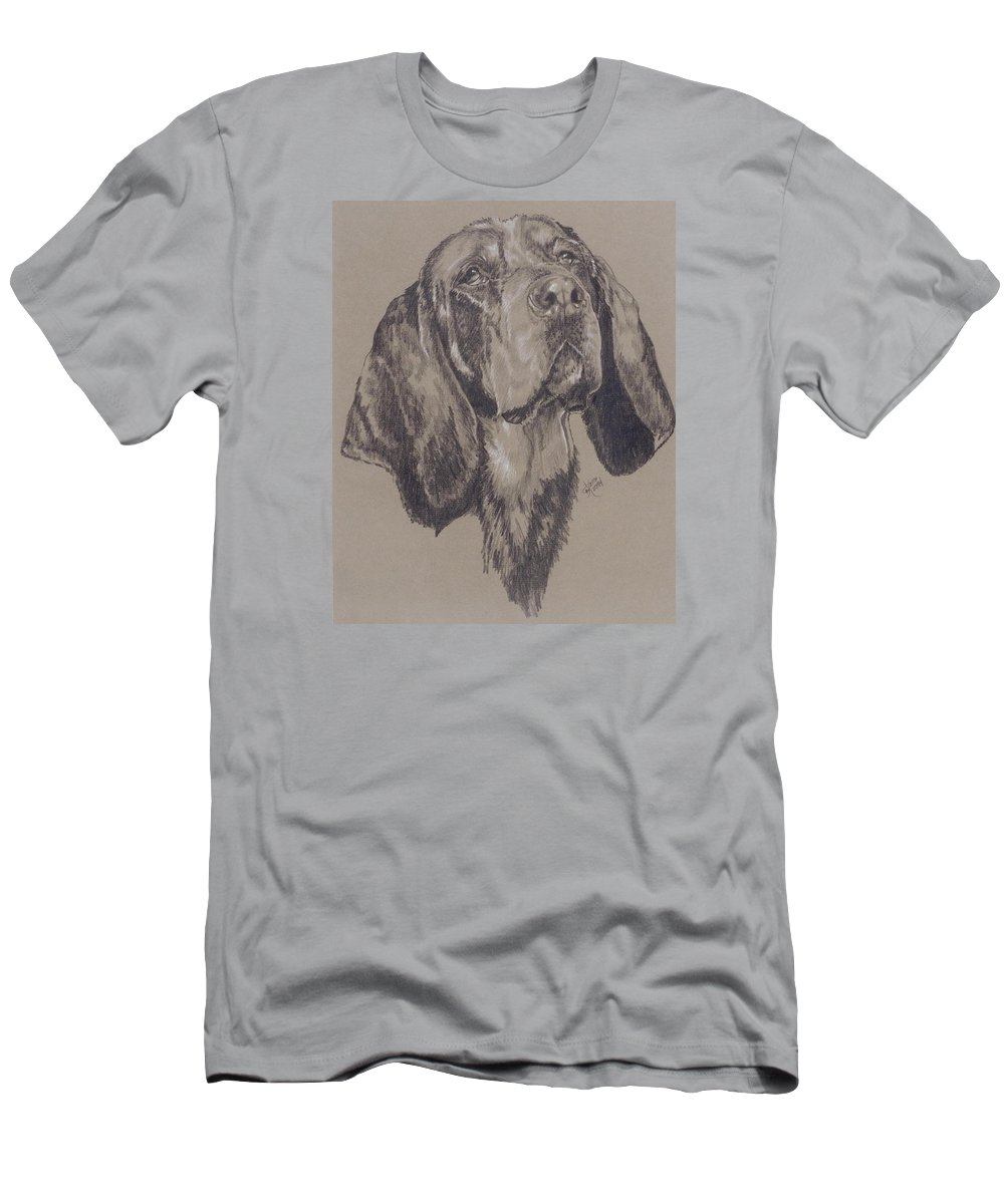 Purebred Men's T-Shirt (Athletic Fit) featuring the drawing Blue Tick Coonhound by Barbara Keith