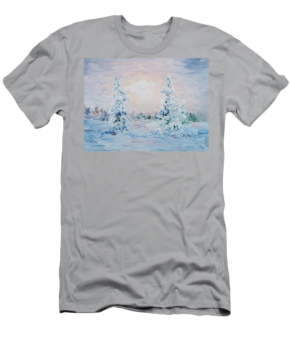 Landscape T-Shirt featuring the painting Blue Winter by Nadine Rippelmeyer