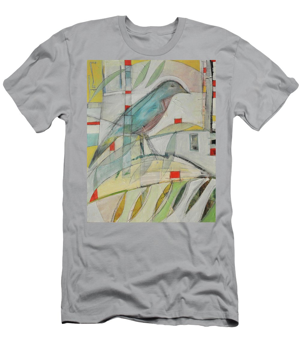 Bluebird Men's T-Shirt (Athletic Fit) featuring the painting Bluebird Of by Tim Nyberg