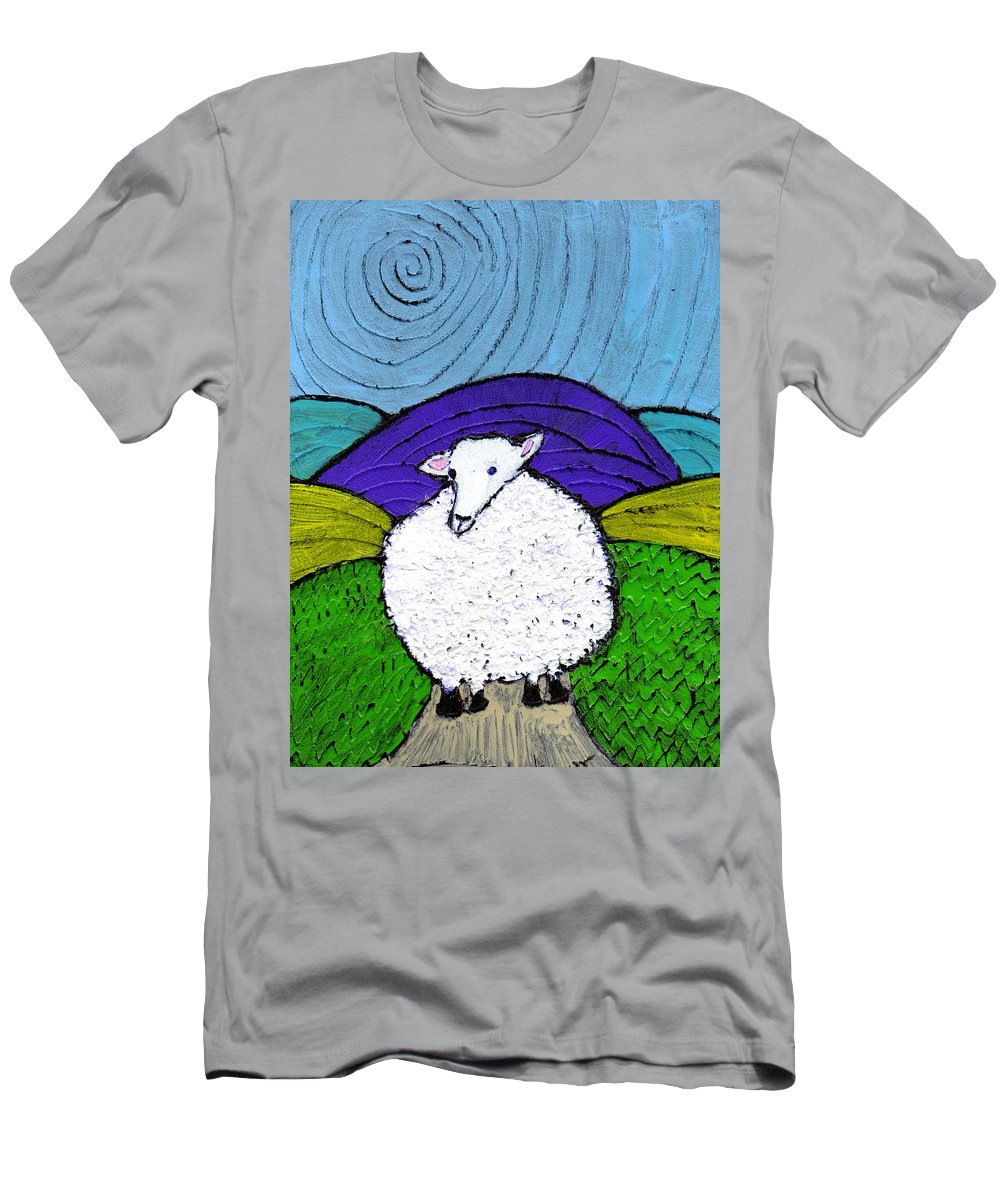 Sheep Men's T-Shirt (Athletic Fit) featuring the painting Bo Peeps Lost Sheep by Wayne Potrafka