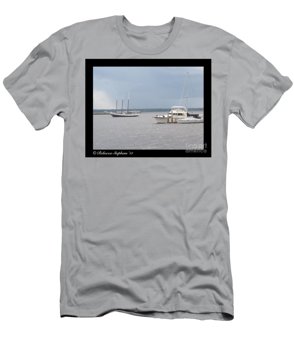 Boat Men's T-Shirt (Athletic Fit) featuring the photograph Boats A Drift by Rebecca Stephens