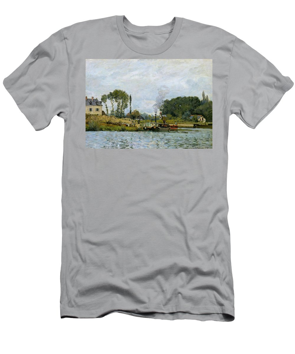 Boats At The Lock At Bougival Men's T-Shirt (Athletic Fit) featuring the painting Boats At The Lock At Bougival by Alfred Sisley