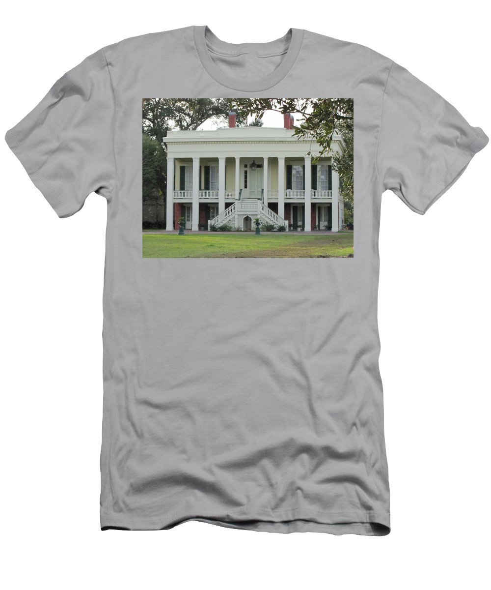 Plantation Homes Men's T-Shirt (Athletic Fit) featuring the photograph Bocage Plantation by Michelle Powell
