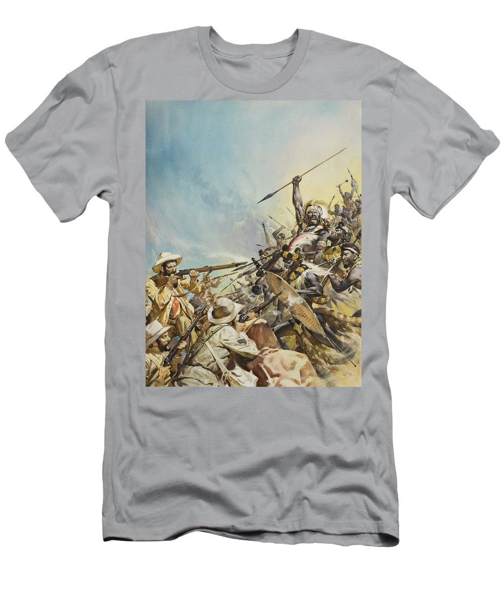 Boer; Zulus; Zulu; Soldier; Soldiers; Warrior; Warriors; Weapon; Weapons; Spear; Spears; Headdress; Headdresses; Colonialism; South Africa; Fight; Fighting; Gun; Rifle; Barbarian; Tribal; Primitivel Warfare Men's T-Shirt (Athletic Fit) featuring the painting Boers Fighting Natives by James Edwin McConnell