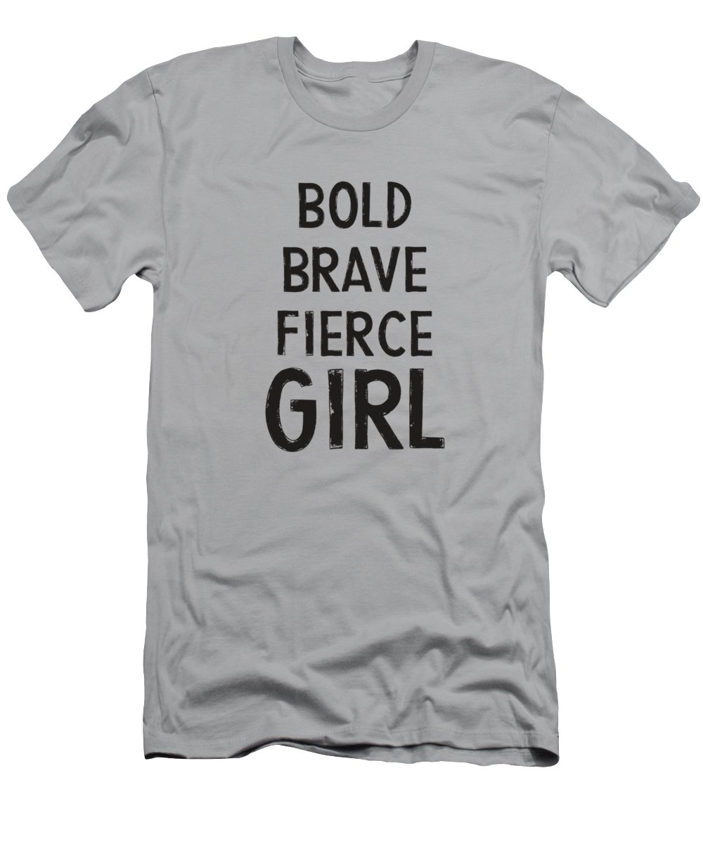 Motivational Men's T-Shirt (Athletic Fit) featuring the digital art Bold Brave Fierce Girl- Art By Linda Woods by Linda Woods