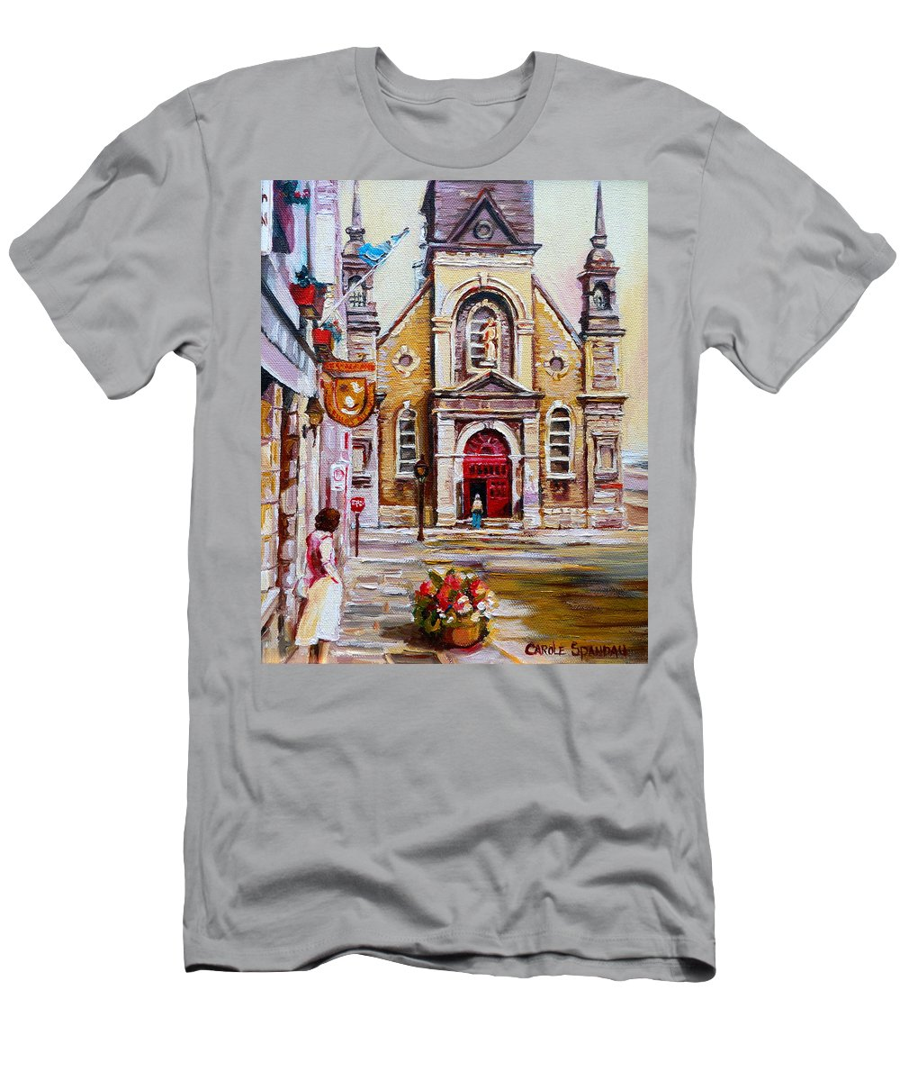 Montreal Churches Men's T-Shirt (Athletic Fit) featuring the painting Bonsecours Church by Carole Spandau