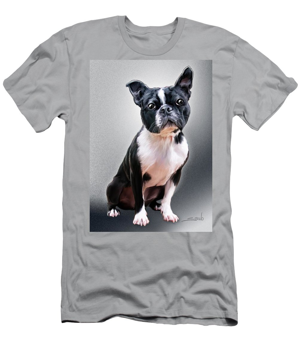 Spano Men's T-Shirt (Athletic Fit) featuring the painting Boston Terrier By Spano by Michael Spano