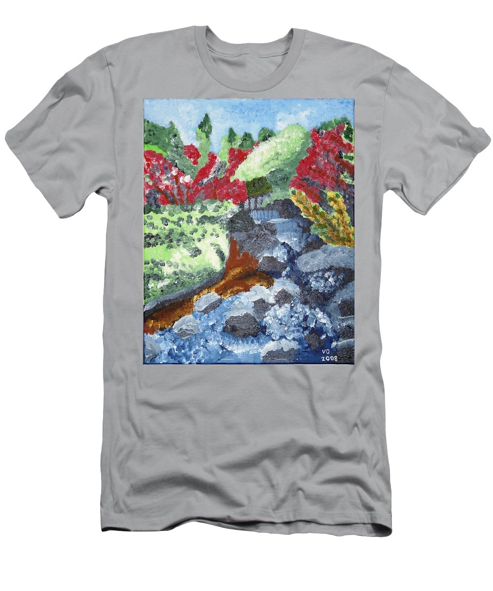 Landscape Men's T-Shirt (Athletic Fit) featuring the painting Botanic Garden Merano 2 by Valerie Ornstein