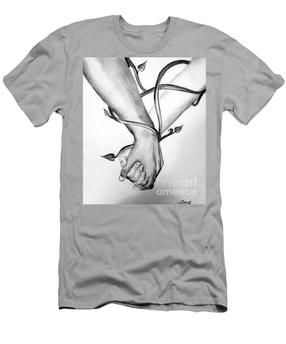 Pencil Drawing Men's T-Shirt (Athletic Fit) featuring the drawing Bound By Love by Sara Matthews