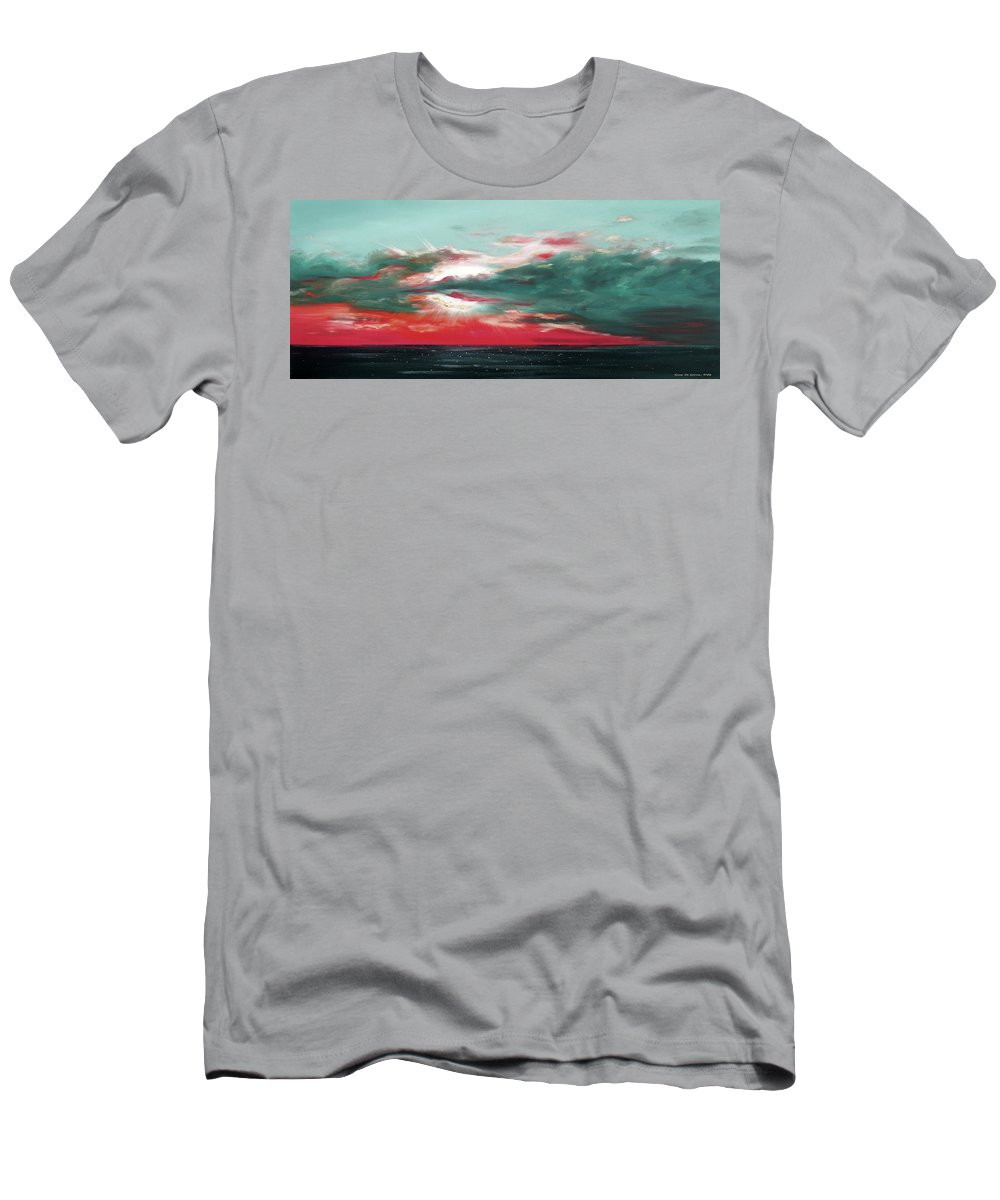 Sunset Men's T-Shirt (Athletic Fit) featuring the painting Bound Of Glory - Panoramic Sunset by Gina De Gorna