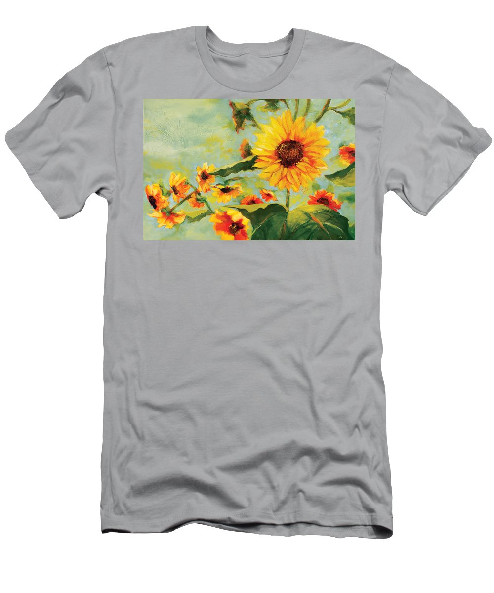 Sunflower Men's T-Shirt (Athletic Fit) featuring the painting Bow Down by Jen Norton