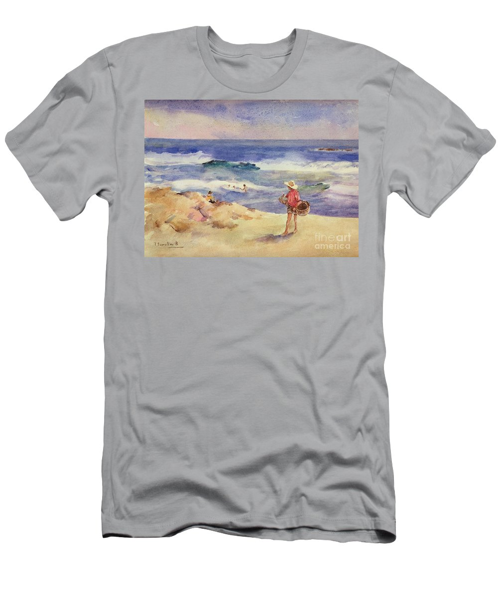 Boy On The Sand (w/c On Paper)coast; Coastal; Beach; Holiday; Seaside; Waves; Basket; Swimming; Playing;watercolor Men's T-Shirt (Athletic Fit) featuring the painting Boy On The Sand by Joaquin Sorolla
