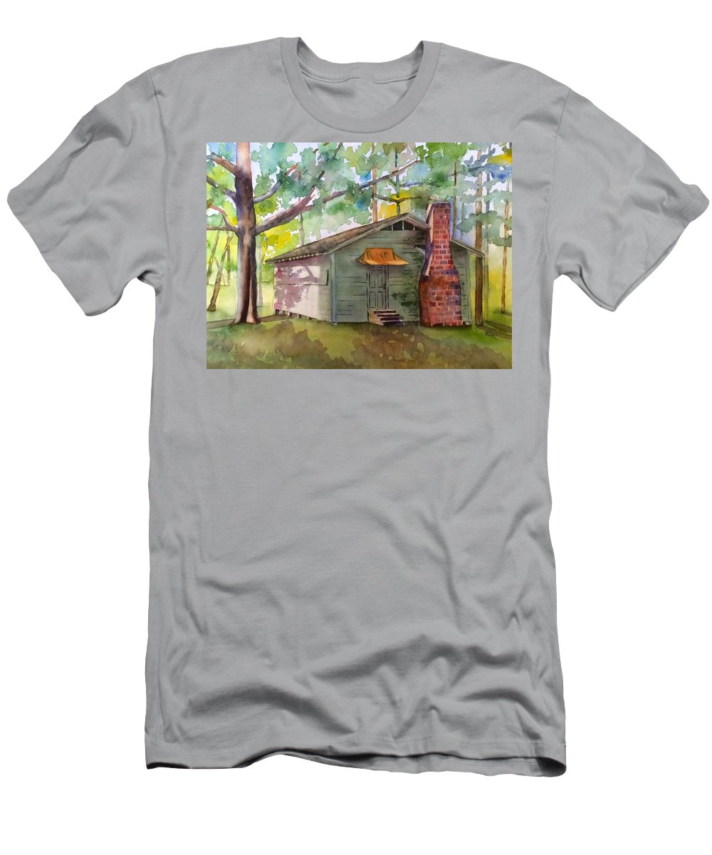 Boy Scout Men's T-Shirt (Athletic Fit) featuring the painting Boy Scout Hut by Beth Fontenot