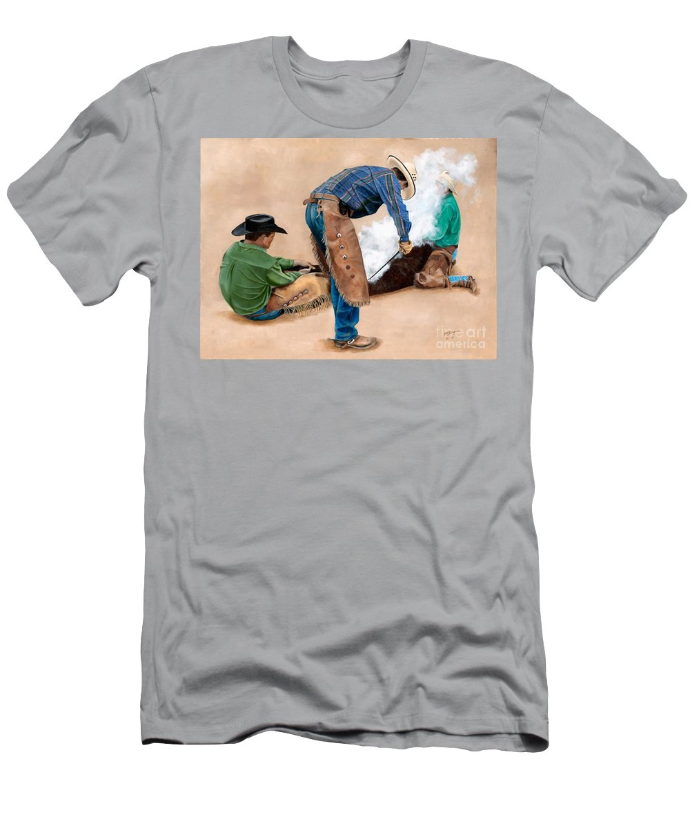 Art Men's T-Shirt (Athletic Fit) featuring the painting Branding Day by Mary Rogers