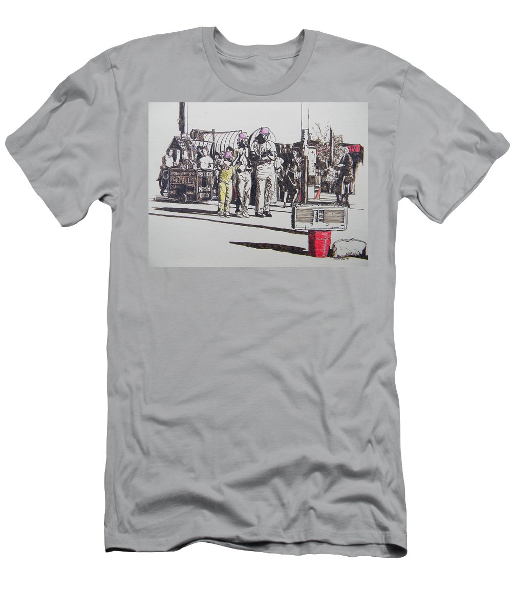 Breakdance Men's T-Shirt (Athletic Fit) featuring the drawing Breakdance San Francisco by Marwan George Khoury