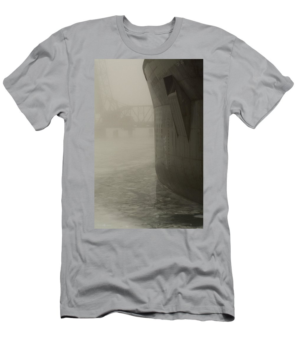 Water Men's T-Shirt (Athletic Fit) featuring the photograph Bridge And Barge by Tim Nyberg