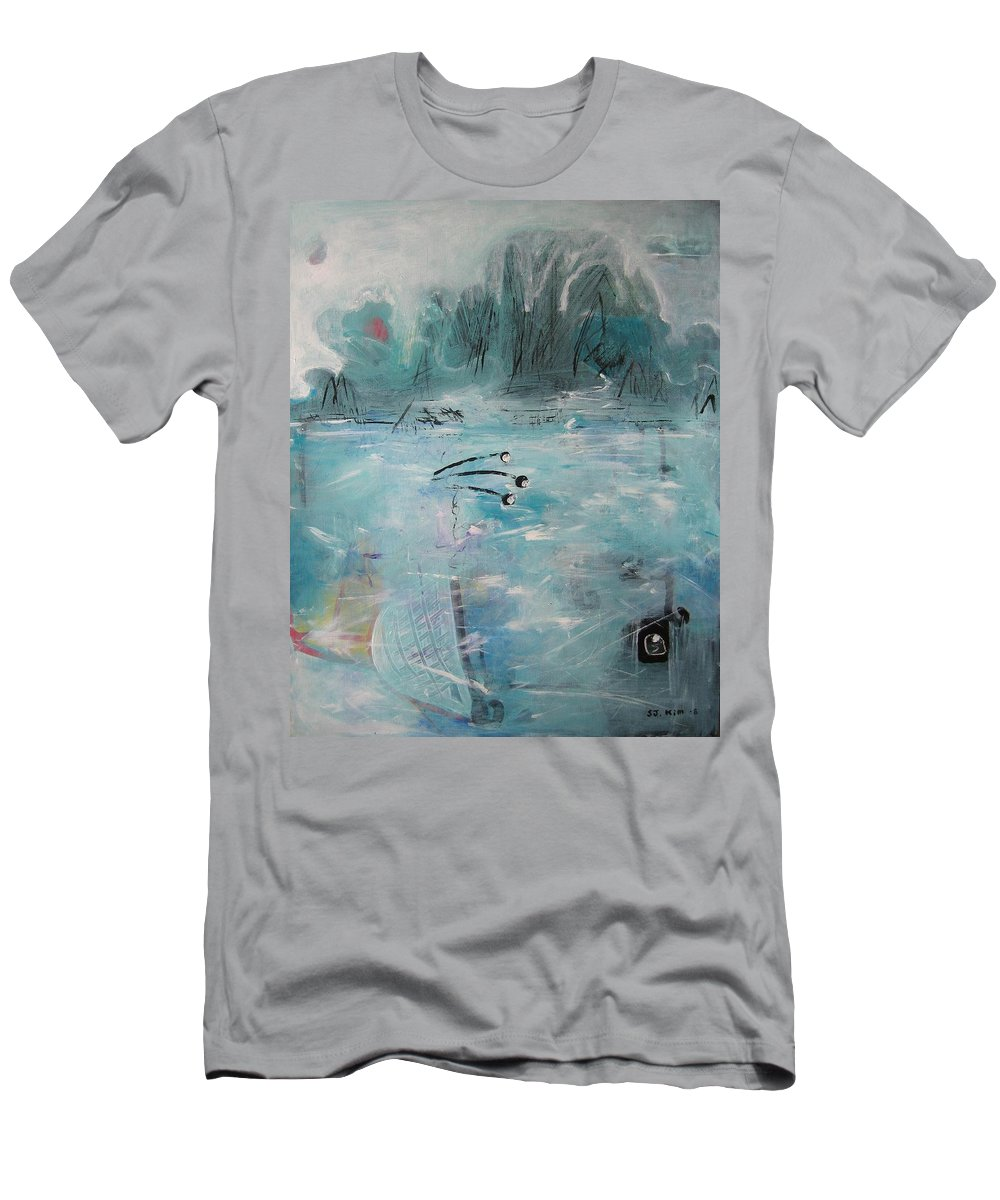 Abstract Paintings Men's T-Shirt (Athletic Fit) featuring the painting Brierly Beach by Seon-Jeong Kim