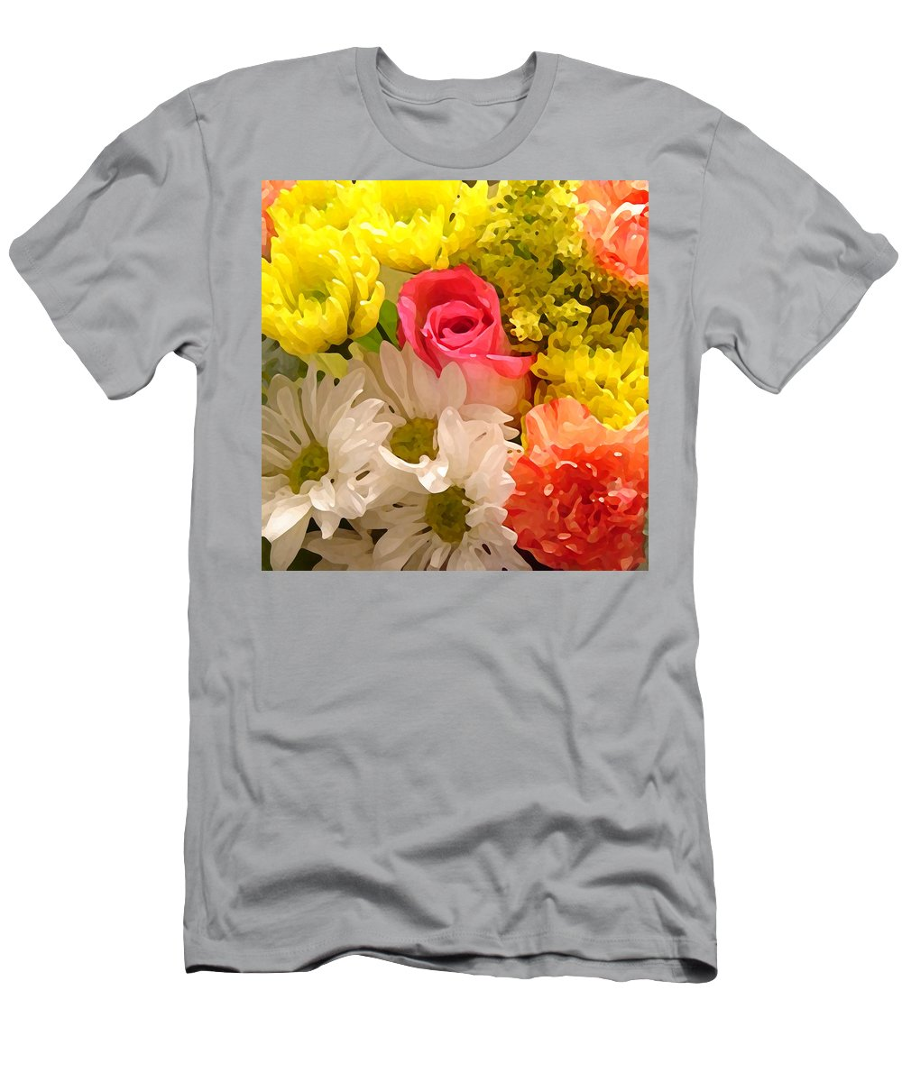 Floral Men's T-Shirt (Athletic Fit) featuring the painting Bright Spring Flowers by Amy Vangsgard