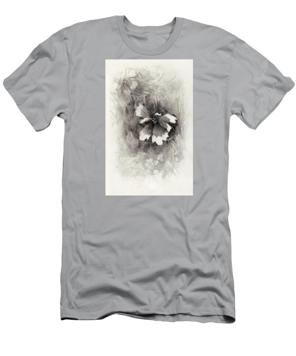 Nature Men's T-Shirt (Athletic Fit) featuring the drawing Broken Blossom by Rachel Christine Nowicki