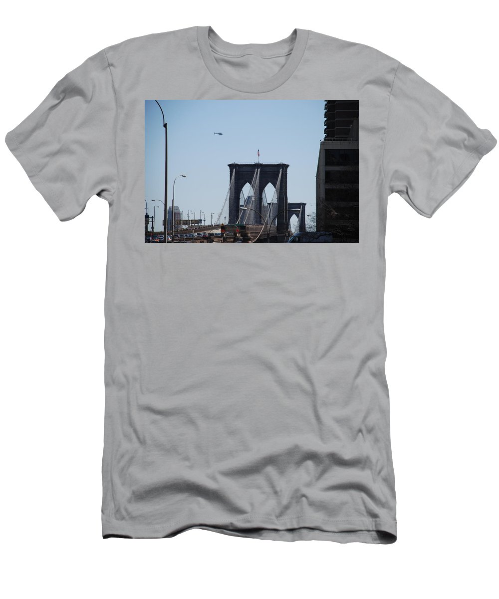 Architecture Men's T-Shirt (Athletic Fit) featuring the photograph Brooklyn Bridge by Rob Hans