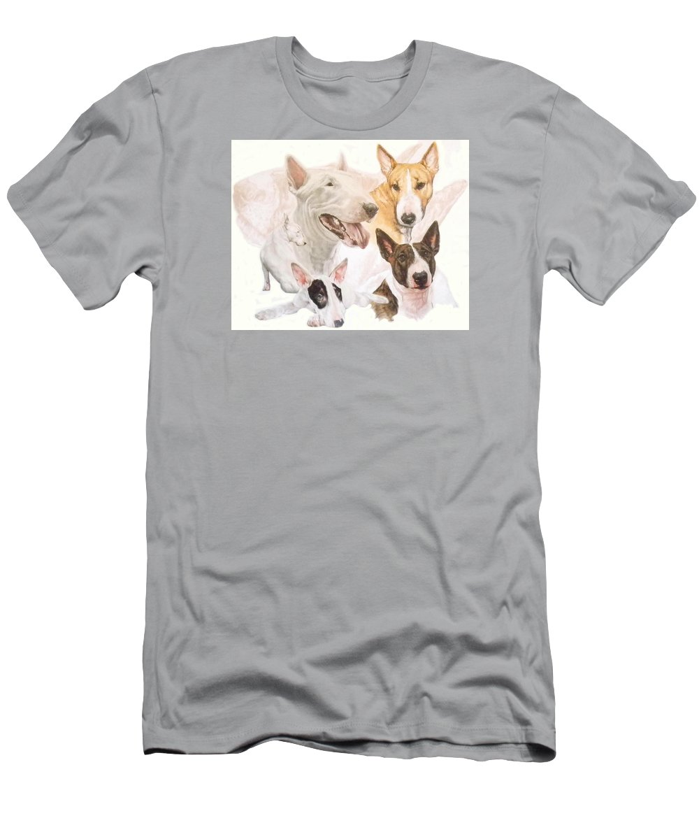 Purebred Men's T-Shirt (Athletic Fit) featuring the mixed media Bull Terrier W/ghost by Barbara Keith