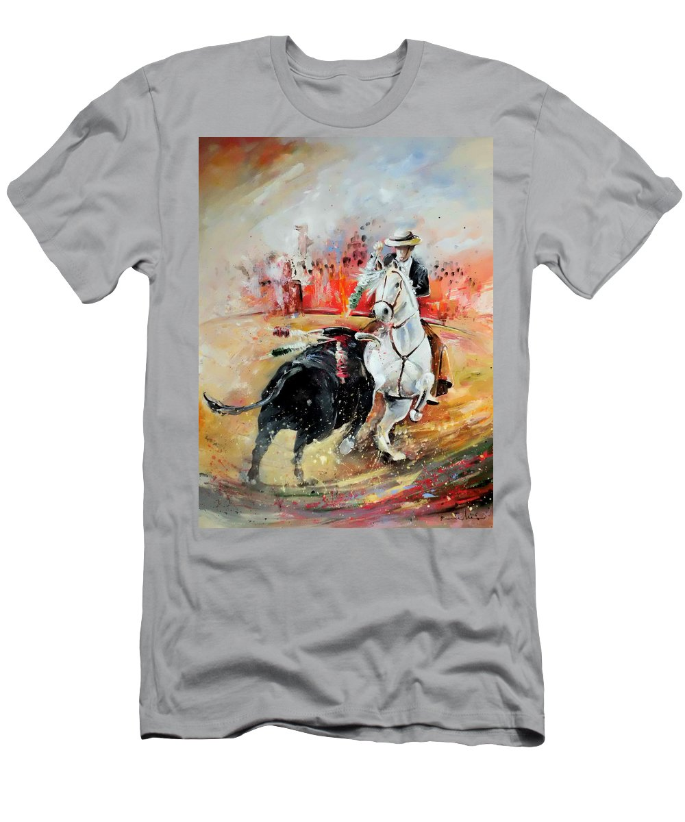 Toros Men's T-Shirt (Athletic Fit) featuring the painting Bullfight 3 by Miki De Goodaboom