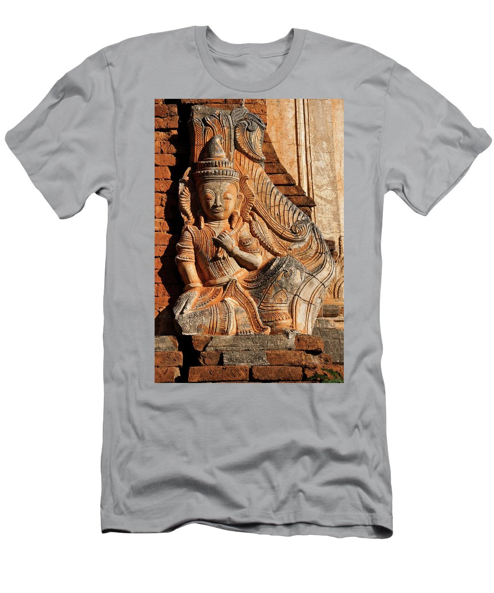 Asia Men's T-Shirt (Athletic Fit) featuring the photograph Burmese Pagoda Sculpture by Michele Burgess