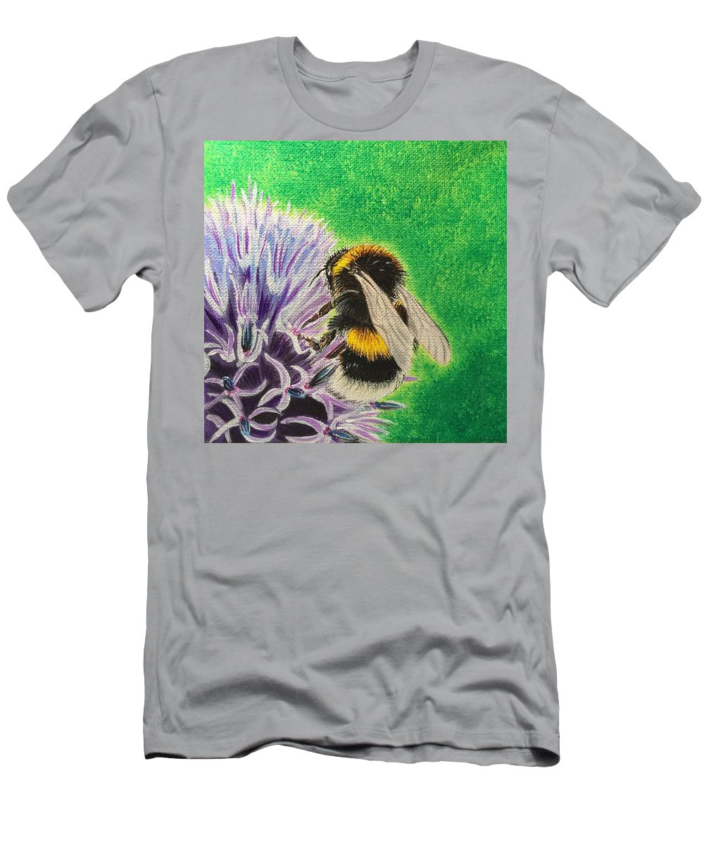 Bee Men's T-Shirt (Athletic Fit) featuring the painting Bursting by Sonja Jones