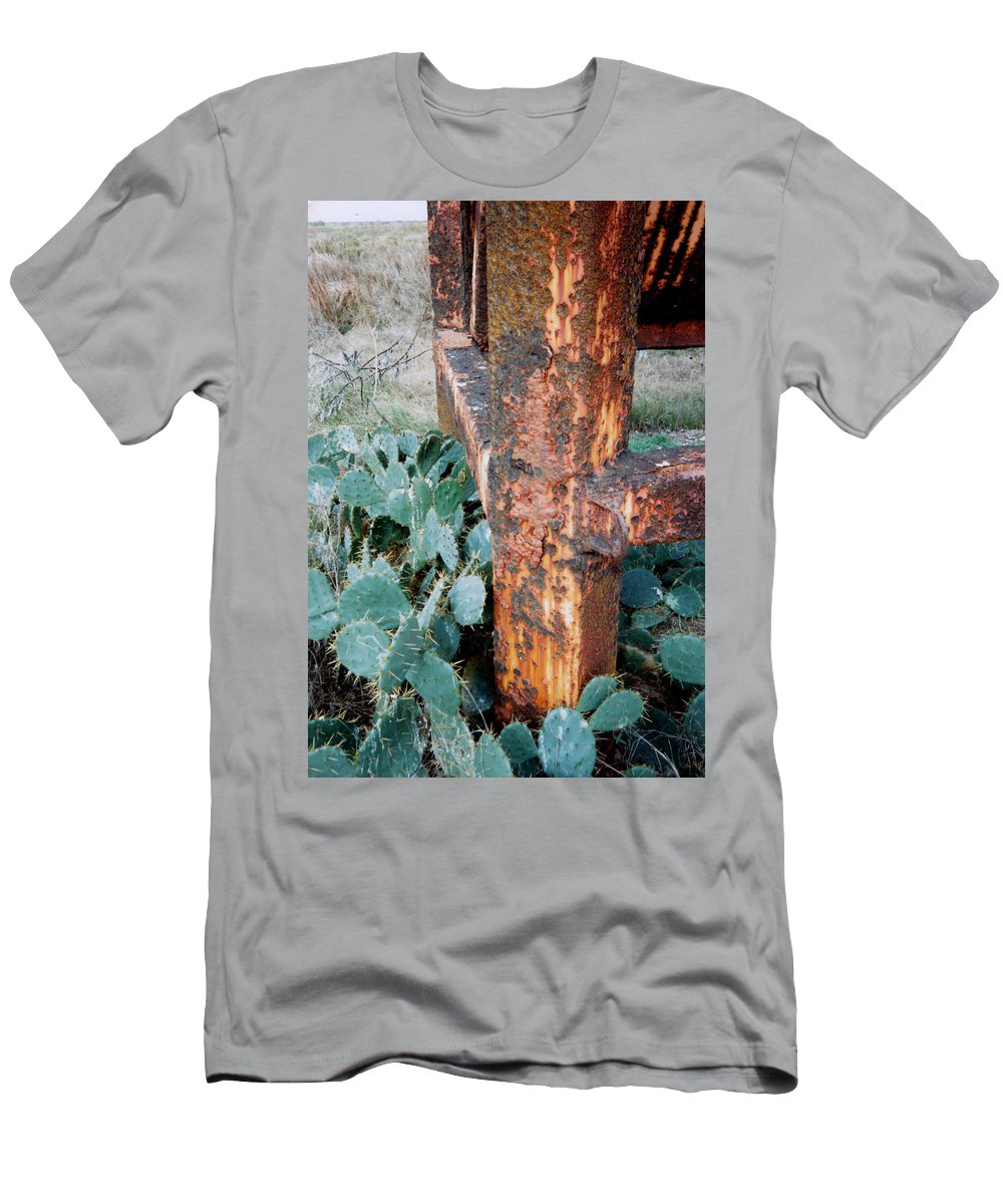 Cactus Rust Pitted Men's T-Shirt (Athletic Fit) featuring the photograph Cactus And Rust by Cindy New