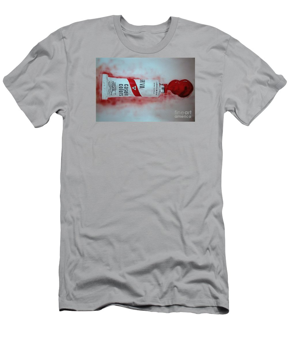 Tube Of Paint Men's T-Shirt (Athletic Fit) featuring the painting Cadmium Red by Ron Bissett